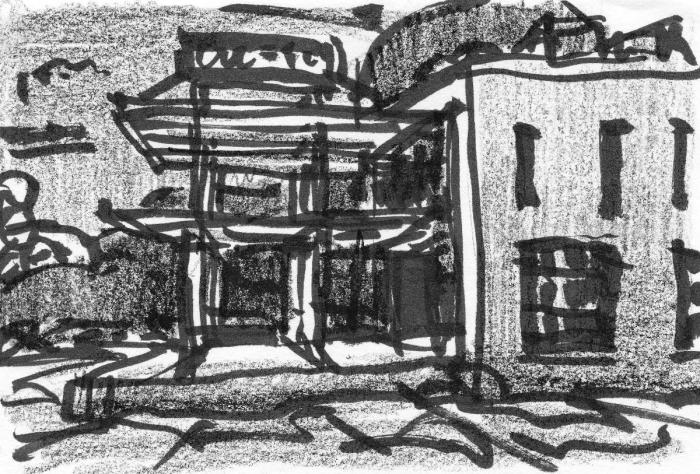 A pen and crayon sketch of a warehouse building with an open structural grid coming out on the left side.