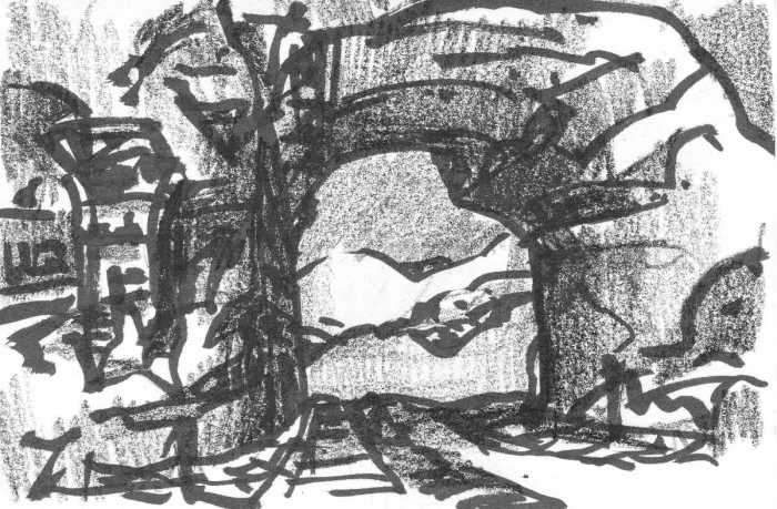 A pen and crayon sketch of a rock formation that creates a gateway leading to a mountainous landscape beyond.