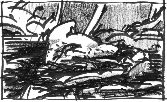 A brush pen and crayon sketch of an organically shaped rock monolith surrounded by water and a rocky shoreline.