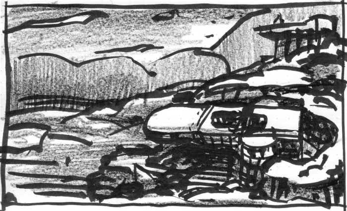 A brush pen and crayon sketch of buildings raised on stilts in a rocky landscape.